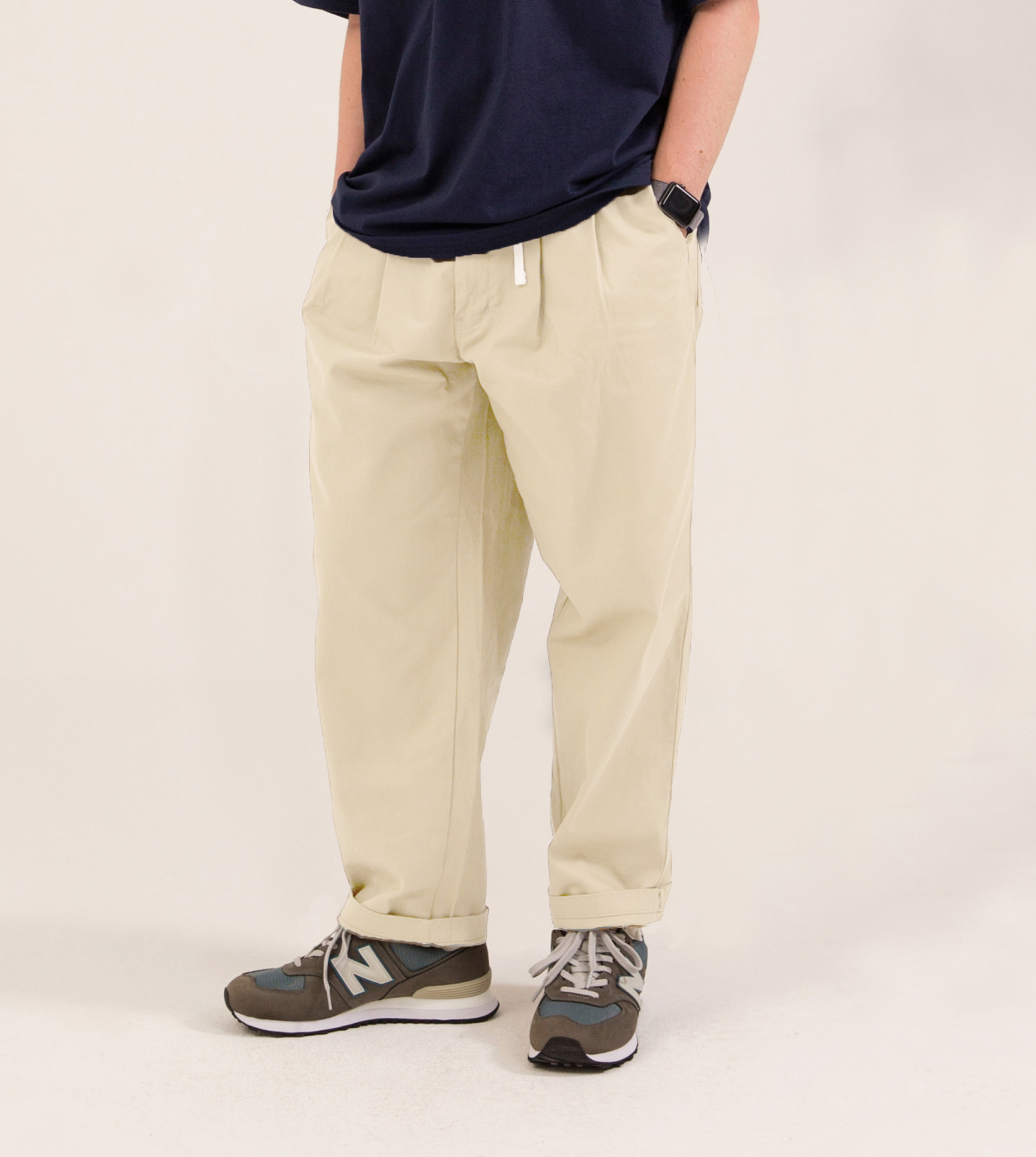 [타임세일] TUCK CHINO PANTS CREAM